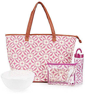 fit & fresh Marblehead Lisbon Tile Insulated Summer Tote Kit