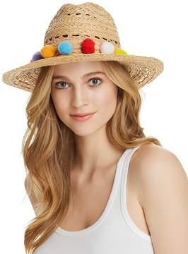 Aqua Pom-Pom Trim Raffia Hat - 100% Exclusive