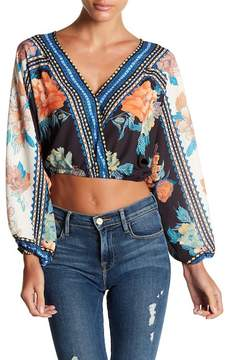 Flying Tomato V-Neck Crop Long Sleeve Print Blouse