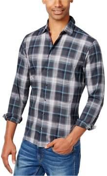 HUGO BOSS Mens Plaid Button Up Shirt Green L