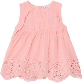 Mayoral Pink Frill and Eyelet Studded Top