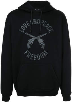 Roar Love Peace Freedom print hoodie