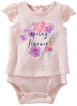 Osh Kosh Baby Girl Spring Flowers Graphic Mock-Layered Bodysuit