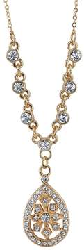 1928 Simulated Crystal Teardrop Necklace