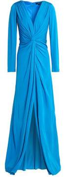 Badgley Mischka Twist-Front Layered Crepe Gown