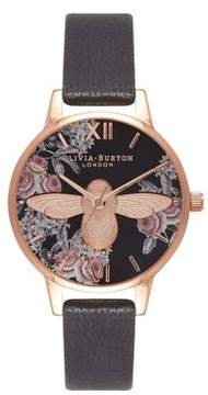 Olivia Burton 3D Bee Botanical Stainless Steel Leather-Strap Watch