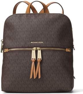 MICHAEL Michael Kors Rhea Signature Zip Slim Backpack - BROWN - STYLE