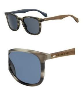 HUGO BOSS BOSS by Men's B0843s Square Sunglasses, Horn Brown Blue/Blue, 52 mm