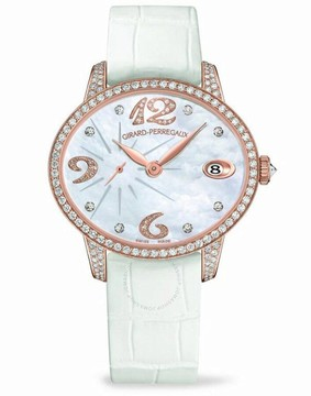 Girard Perregaux Cats Eye Mother of Pearl 18kt Pink Gold Diamond Leather Ladies Watch