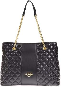 Love Moschino Black Quilted Shopping Bag In Faux Leather