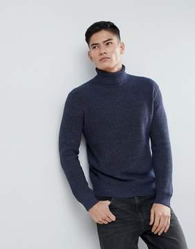 MANGO Man Roll Neck Flecked Sweater In Blue
