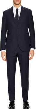 Lubiam Men's Wool Windowpane Notch Lapel Suit