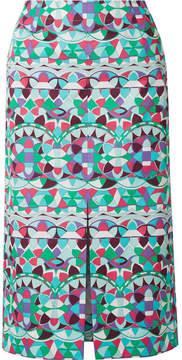 Emilio Pucci Printed Cotton-poplin Midi Skirt - Mint