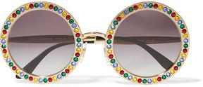 Dolce & Gabbana - Crystal-embellished Round-frame Gold-tone Sunglasses