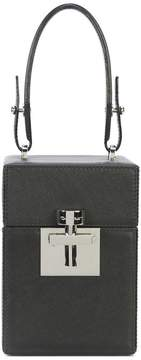 Oscar de la Renta Black & Silver Leather Mini Alibi Bag