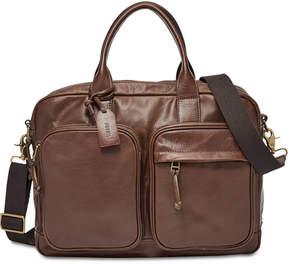 Fossil Men's Defender Leather Double Zip Workbag