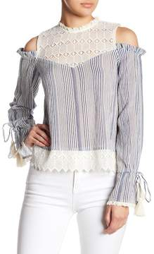 Love Sam Striped Crochet Cold Shoulder Blouse
