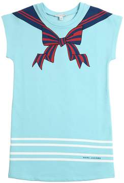Little Marc Jacobs Sailor Collar Print Sweatshirt Dress