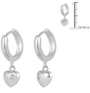 Ice Girls' Jewelry Silver Heart Huggie Hoop Earrings