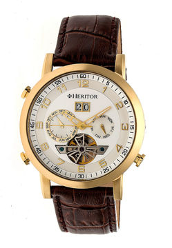 Heritor Edmond Mens Brown Strap Watch-Herhr6203