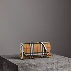 Burberry Vintage Check and Leather Wallet with Chain