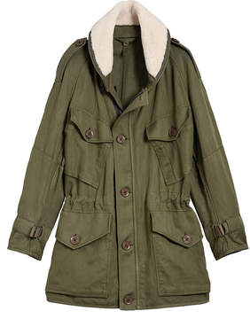 Burberry Shearling Collar Ramie Cotton Field Jacket