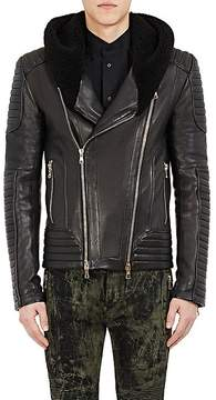 Balmain Men's Leather Hooded Moto Jacket