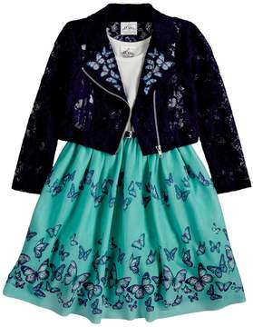 Knitworks Girls 4-6x Butterfly Embroidered Moto Jacket & Sleeveless Babydoll Dress