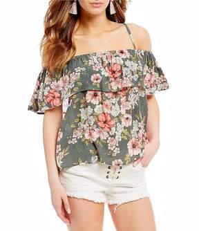 Billabong Summer Sunsets Floral Printed Ruffle Cold Shoulder Top