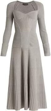 Alexander McQueen Sweetheart-neck long-sleeved wool-blend dress