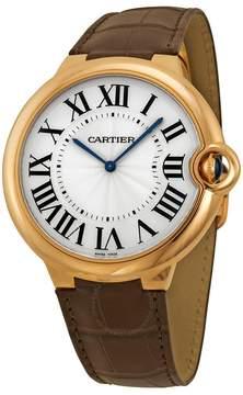 Cartier Ballon Bleu Extra Large Silver Dial 18kt Rose Gold Leather Men's Watch
