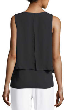 Joan Vass Layered Sleeveless V-Neck Blouse