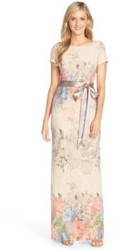Adrianna Papell Women's Matelasse Floral Jacquard Column Gown