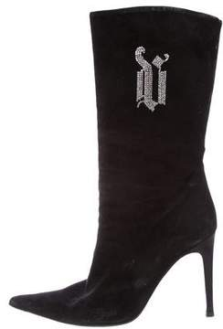Versace Crystal Monogram Boots
