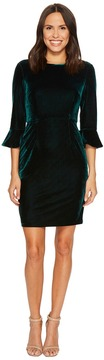 Donna Morgan Velvet 3/4 Sleeve Bodycon w/ Flared Sleeve Women's Dress