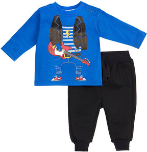 Petit Lem Rockstar Two-Piece Outfit Set, Blue, Size 3-24 Months