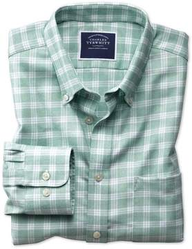 Charles Tyrwhitt Slim Fit Button-Down Non-Iron Twill Green and White Cotton Casual Shirt Single Cuff Size Large