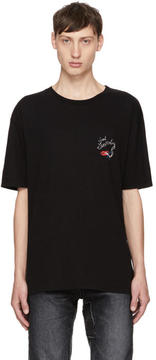 Saint Laurent Black Oversized Bouche Logo T-Shirt