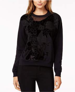 Bar III Mesh-Trim Velvet-Applique Sweatshirt, Created for Macy's