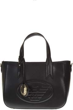 Emporio Armani Black Faux Leather Logo Bag