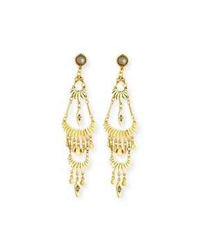 Sequin Tiered Golden Drop Earrings