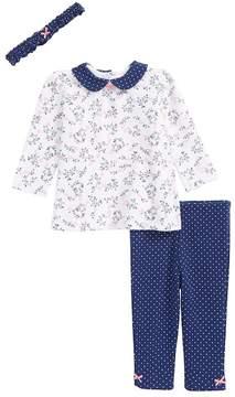 Little Me Floral Print Top, Leggings & Headband Set (Baby Girls)