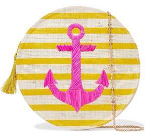 Kayu Embroidered Striped Straw Shoulder Bag