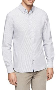 MANGO Slim-Fit Stripe Button-Down Shirt