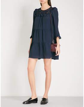 Claudie Pierlot Lace-panel crepe dress