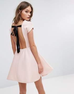 boohoo Bow Back Mini Skater Dress