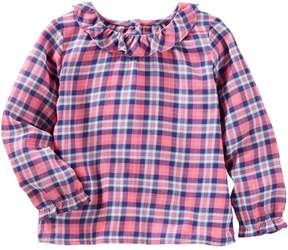 Osh Kosh Oshkosh Bgosh Toddler Girls Ruffled Plaid Top