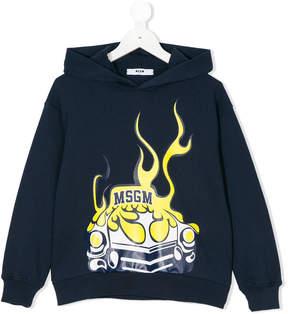 MSGM logo flame car print hoodie