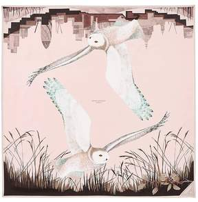 Aspinal of London Owl In The City Silk Scarf In Champagne Deer Brown