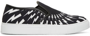 Neil Barrett Black and White Thunderbolt Slip-On Sneakers